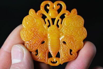 Exquisite Chinese jade Carved Two-sided *Butterfly* pendant   H2