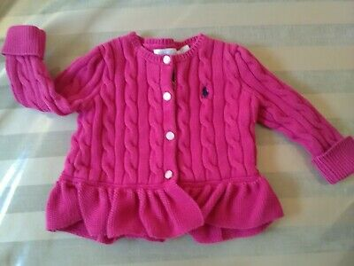 Baby Girls Beautiful Ralph Lauren Cable Knit Cardigan Pink Cerise 9-12 Mth Frill