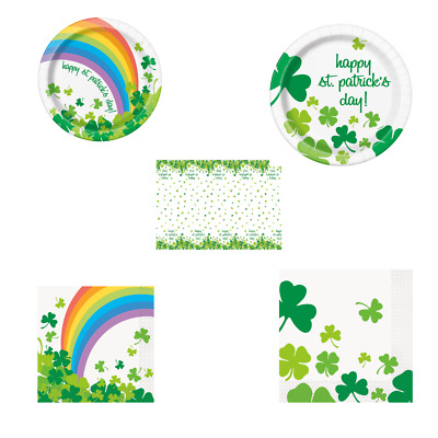 St Patrick's Day Rainbow Shamrock Party Tableware - Tablecover, Plates & Napkins