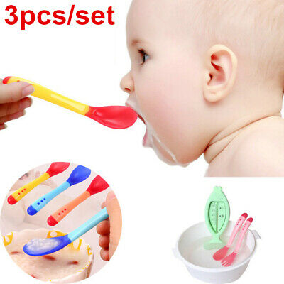 3pcs Baby Safety Temperature Sensing Spoon Infant Weaning Feeding Tableware NEW