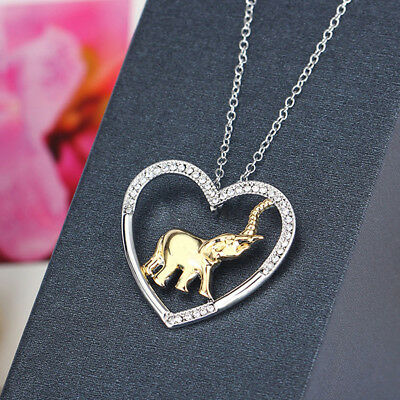 Exqusite Crystal Studded Heart-shaped Plated Gold Elephant Pendant Necklace Z