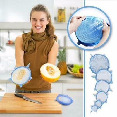 6Pcs Silicone Reusable Food Fresh Keeping Sealing Stretch Lid Container Cover AU