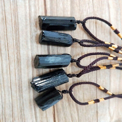 Ladies Natural Crystal Black Tourmaline Original Stone Pendant Necklace Gifts Z