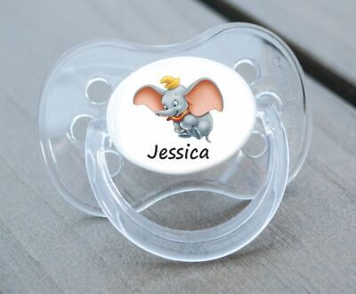 Personalised Dummy Pacifier Soother, All Teats,sizes & Colours, Dumbo