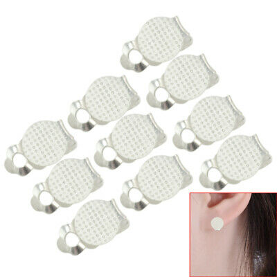 10Pcs Silver Metal Round Flat Pad Clip On Earring DIY Findings 16x10x8mm New