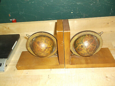 Vintage Pair Old World Map Globe Bookends Spinning from Somo Bros