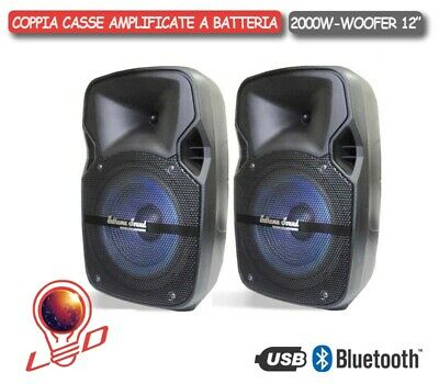 COPPIA CASSE AMPLIFICATE 2000W BLUETOOTH USB SD RADIO FM IN ABS - XEVO-12 Combo