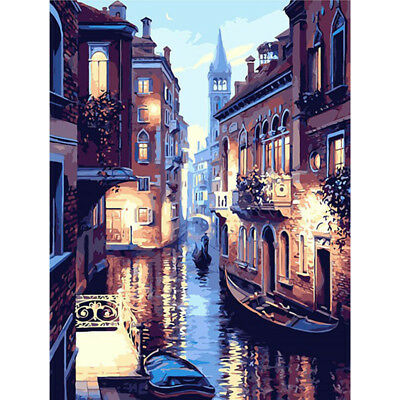 Venice Night DIY Paint by Numbers Kit Canvas Easy Painting Framed Unframe 40x50
