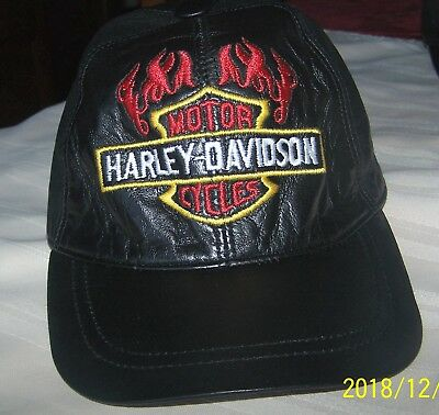 fbea478e23f HARLEY DAVIDSON Black Leather Baseball Hat Cap Shield Flames One Size New