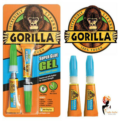 2 x 3g Gorilla Super Glue Gel Quick Setting Tubes Impact Touch Leather Metal