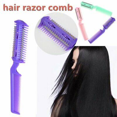Changeable Blades Hairdressing Double Sided Hair Styling Razor Thinning Comb DU