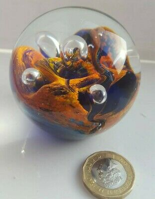 Glass Paperweight . Multi Coloured And Design collectable