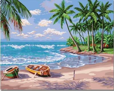 Parking Boats on a Tropical Island Beach - Van-Go Paint-By-Number Kit
