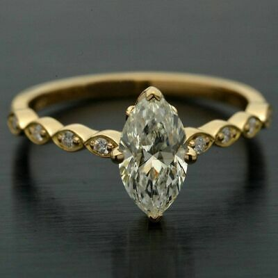 3 Ct Marquise & Round Cut Diamond 14K Yellow Gold Fn Solitaire Engagement Ring