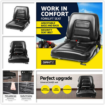 Universal Forklift Seat Chair Tractor Excavator Truck Bobcat Leather Backrest AU