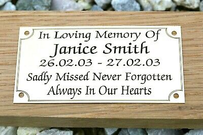 Solid Brass Memorial Bench Plaque Grave Marker Sign
