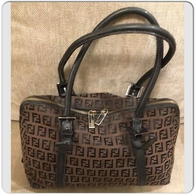 AUTH FENDI ZUCCA Pattern Hand Bag Brown Black Canvas Leather Vintage ... c98888ee89372