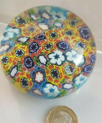 Glass Paperweight . Multi Coloured And Design collectable Millefiori Cane design