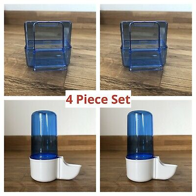 4 piece Cage Bird Water Drinker / Feeder for Finch - Canary - Budgie - External