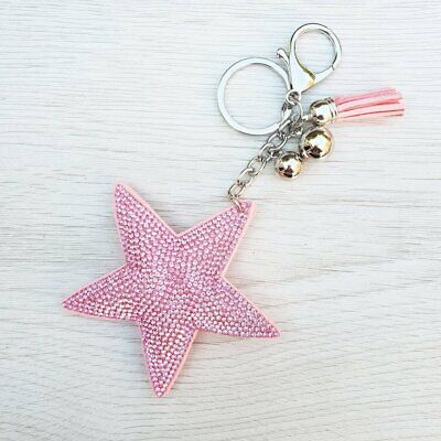 Sparkly Star Keyring - Pink. Cool keyring bag charm for girls & ladies.