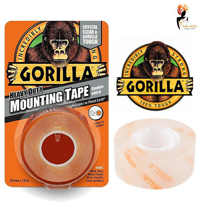 Gorilla Glue Mounting Tape Heavy Duty Double Sided Weatherproof Crystal Clear