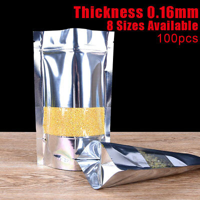 100x Silver Aluminum Foil Ziplock Bag Stand Up Clear Window Food Grade Pouch
