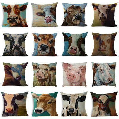 Linen Oil Painting Cow Pillow Case Sofa Car Waist Cushion Cover Home Decor 18""