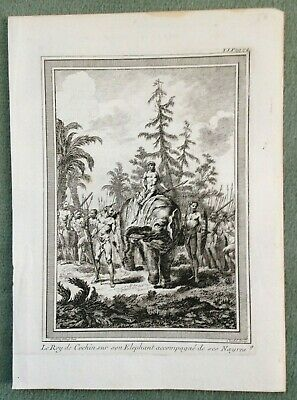 India The King Of Cochin 1754 Bellin Antique Engraved Plate 18Th Century