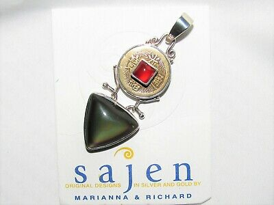 Signed SAJEN Sterling Silver Lucky Chinese Coin Pendant Red & Green Quartz 925