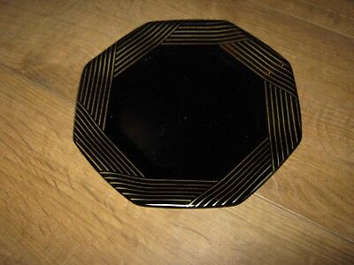 """Vintage French Arcoroc 7"""" plate black with gold detail"""