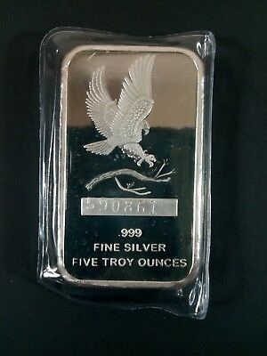 Silver Towne American Eagle Open Wings 5 OZ .999 Fine Silver Bar New