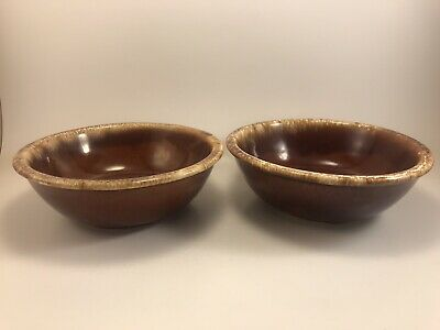2 VINTAGE HULL USA Oven Proof Pottery Brown Drip Glaze Soup Cereal Salad Bowls