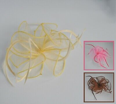 Organza feather fascinator hair comb. Wedding/Races. Lime/toffee/candy/primrose