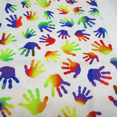 Rainbow handprints by Quilting Treasures - 100% cotton fabric