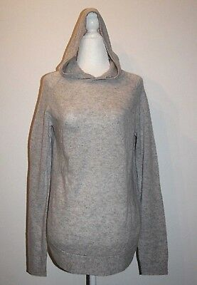 THEORY feather soft cashmere curved hem hoodie sweater light gray sz S  $355