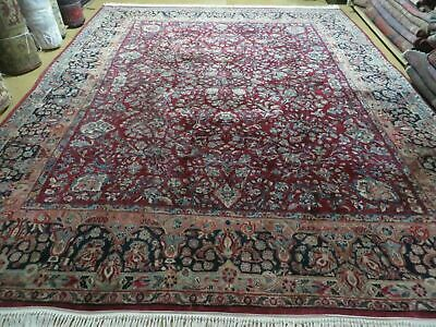 9' X 11' Antique Fine Hand Made Persian Sarouk Wool Rug Red Organic Dyes Nice