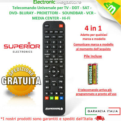 Telecomando Universale DIGIQUEST Compatibile per Tv Decoder Ricevitori Dvd