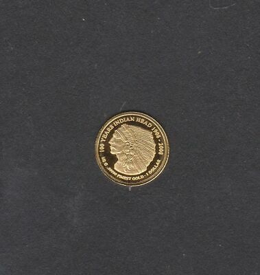 1 Dollar 2008 Cook-Inseln in PP - Indian Head - 999er Gold - 0,5g - 11mm