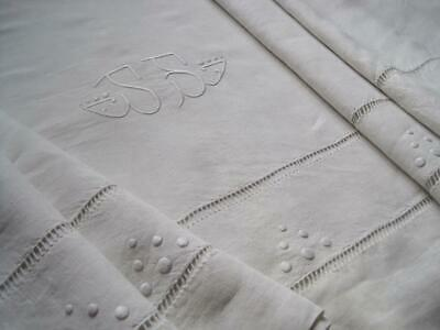 Charming Vintage French Pure Linen Sheet, Superb Bedding Fabric Or Curtain