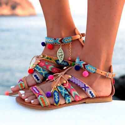 New 2019 women's Bohemian Fish Mouth Ball Ball Ethnic Wind Flat Lace-Up sandals