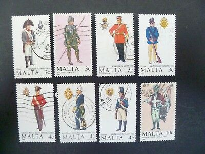 Nice Lot of Eight (8) Malta Military Topical Stamps Used - See Description