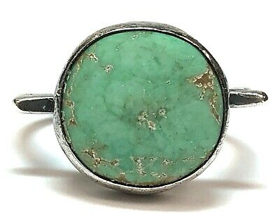 Vintage Egyptian Revival Light Green Turquoise Sterling Silver Ring - Size 6