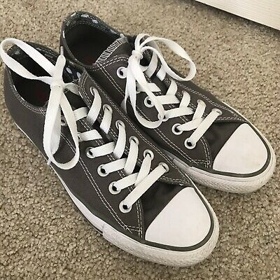 dc22e61c9dd Converse Women s Size 7 All Star Ox Double Tongue Gray White Low Top Polka  Dot