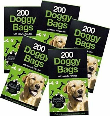 1000 Doggy Bags Scented Dog Poo Waste Tie Handles 26-29cm Medium Pooper Scooper