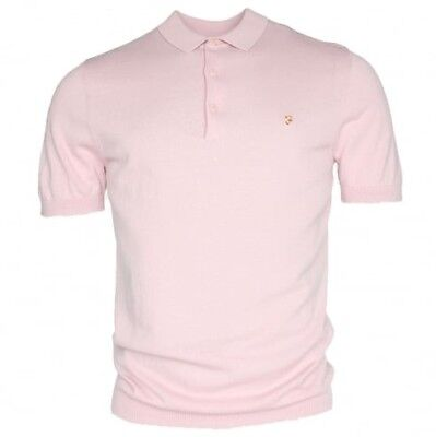 BNWT Farah Vintage Ben Knitted Rose Pink Polo Shirt XL RRP£65 F4GS8002 Last One