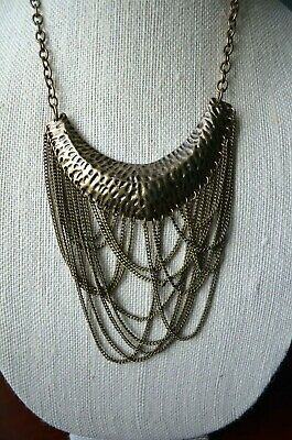 Antique Brass Color Metal Hammered Pendant Chain Necklace Leopard Statement