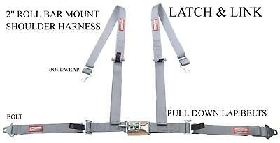 """2"""" Buggy Harness Racing Seat Belt Latch & Link Roll Bar Mount Bolt In Gray"""