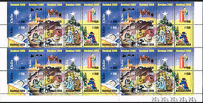Chile 2000 Stamp # 2017/26 Mnh Block Of Four Christmas Corner Of Sheet