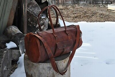 """Vintage Brown Leather Barrel Leather Duffle Travel Gym Bag 24""""x10"""" cross body"""