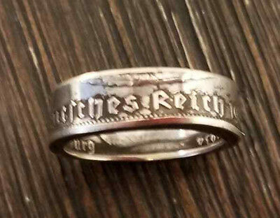 WW2 WWII German military silver Reichsmark 1938 coin mens finger ring size 7.5